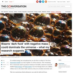 Bizarre 'dark fluid' with negative mass could dominate the universe – whatmy research suggests
