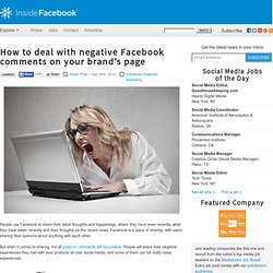 How to deal with negative Facebook comments on your brand's page