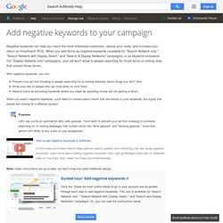 How do I add, edit, or delete negative keywords? - AdWords Help