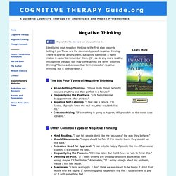 Negative Thought Patterns and Cognitive Therapy CBT