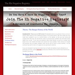The Rh-Negative Registry - Theory: The Basque History of the World