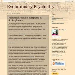Evolutionary Psychiatry: Folate and Negative Symptoms in Schizophrenia