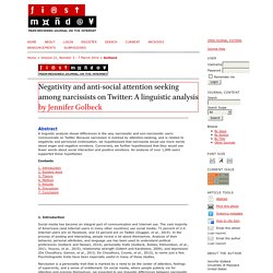 Negativity and anti-social attention seeking among narcissists on Twitter: A linguistic analysis