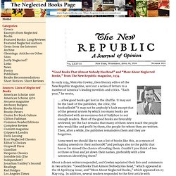 The Neglected Books Page » The New Republic (1934)