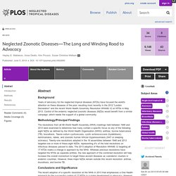 PLOS 05/06/14 Neglected Zoonotic Diseases—The Long and Winding Road to Advocacy