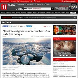 Climat: les négociateurs accouchent d'un texte très critiqué - Science