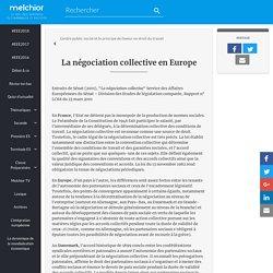 La négociation collective en Europe