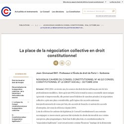 La place de la négociation collective en droit constitutionnel