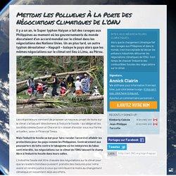 Mettons les pollueurs à la porte des négociations climatiques de l'ONU