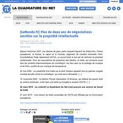 [LeMonde.fr] Plus de deux ans de négociations secrètes sur la pr