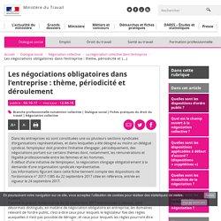 Les négociations obligatoires dans l'entreprise : thème, périodicité et déroulement - Ministère du Travail