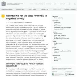 Why trade is not the place for the EU to negotiate privacy