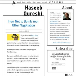 How Not to Bomb Your Offer Negotiation