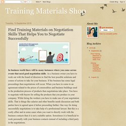 Training Materials Shop: Find Training Materials on Negotiation Skills That Helps You to Negotiate Successfully