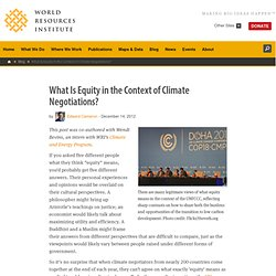 What Is Equity in the Context of Climate Negotiations?