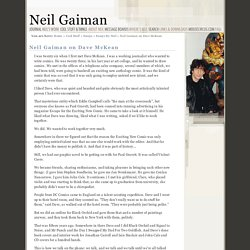 Neil Gaiman on Dave McKean