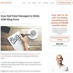 How Neil Patel Managed to Write 4294 Blog Posts