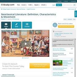 Neoclassical Literature: Definition, Characteristics & Movement