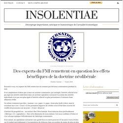 Des experts du FMI remettent en question les effets bénéfiques de la doctrine néolibérale