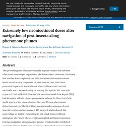 SCIENTIFIC REPORTS 31/05/19 Extremely low neonicotinoid doses alter navigation of pest insects along pheromone plumes