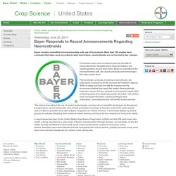 Bayer Responds to Recent Neonicotinoids Announcements