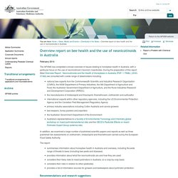 APVMA_GOV_AU - FEV 2014 - Overview report - neonicotinoids and the health of honey bees in Australia