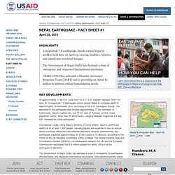 Nepal Earthquake - Fact Sheet #1