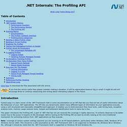 .NET Internals: The Profiling API
