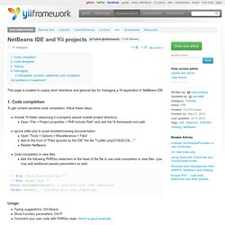 NetBeans IDE and Yii projects