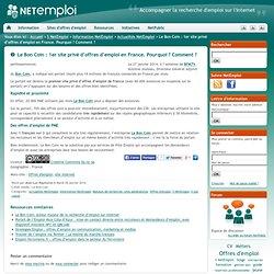 Le Bon Coin : 1er site privé d'offres d'emploi en France. Pourquoi ? Comment ?
