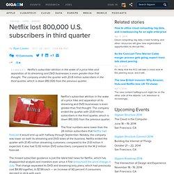 Netflix lost 800,000 U.S. subscribers in third quarter