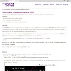 Configuring Wireless Security (WEP/WPA/Access list) on NETGEAR Routers