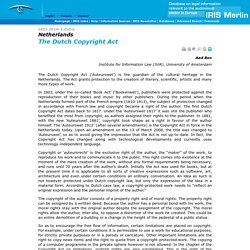 Netherlands :  The Dutch Copyright Act