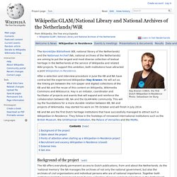 Wikipedia:GLAM/National Library and National Archives of the Netherlands/WiR