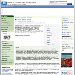 CDC EID - MAI 2011 - Travel-related Dengue Virus Infection, the Netherlands, 2006–2007