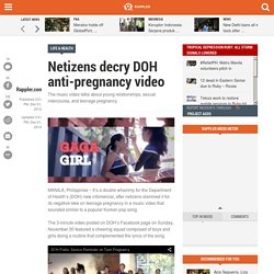 Netizens decry DOH anti-pregnancy video