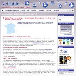 Egalité d'accès au numérique : Communication d'Axelle Lemaire au Conseil des Ministres (25 mars 2015)