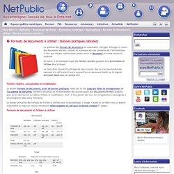 Formats de documents à utiliser : Bonnes pratiques (dossier)