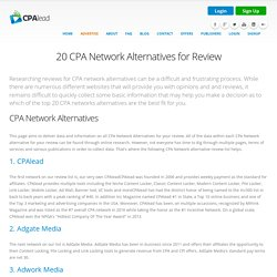 20 CPA Network Alternatives for Review