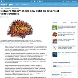 Network theory sheds new light on origins of consciousness