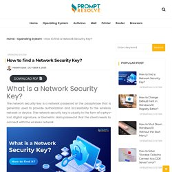 How to find a Network Security Key? - Prompt Resolve