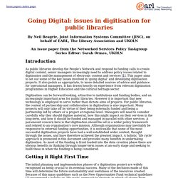Going Digital: An issue paper from the Networked Services Policy Taskgroup