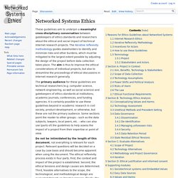 Networked Systems Ethics - Networked Systems Ethics