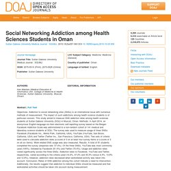 Social Networking Addiction among Health Sciences Students in Oman