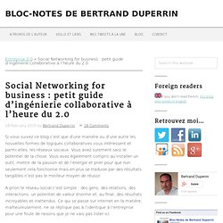 Social Networking for business : petit guide d'ingénierie collaborative à l'heure du 2.0