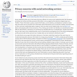 Privacy concerns with social networking services