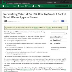 Networking Tutorial for iOS: How To Create A Socket Based Server