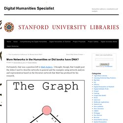 More Networks in the Humanities or Did books have DNA?