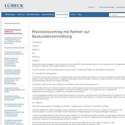 LÜBECK Musterverträge | Provisionsvertrag mit Partner zur Neukundenvermittlung | Kooperationsverträge