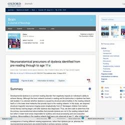 Neuroanatomical precursors of dyslexia identified from pre-reading through to age 11